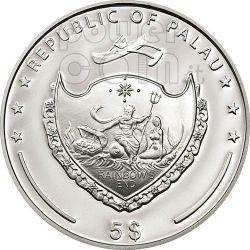 FOUR LEAF CLOVER Ounce Of Luck Серебро Монета 5$ Палау 2012