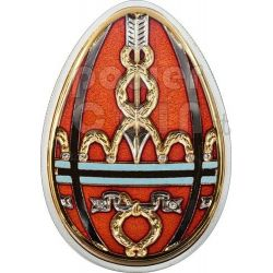 UOVA IMPERIALI ROSSA Cloisonne Faberge Moneta Argento 5$ Cook Islands 2012