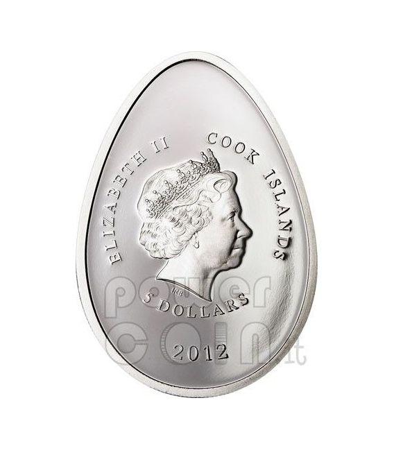 UOVA IMPERIALI VIOLA Cloisonne Faberge Moneta Argento 5$ Cook Islands 2012