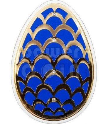 IMPERIAL EGGS PINE CONE Cloisonne Faberge Silver Coin 5$ Cook Islands 2012