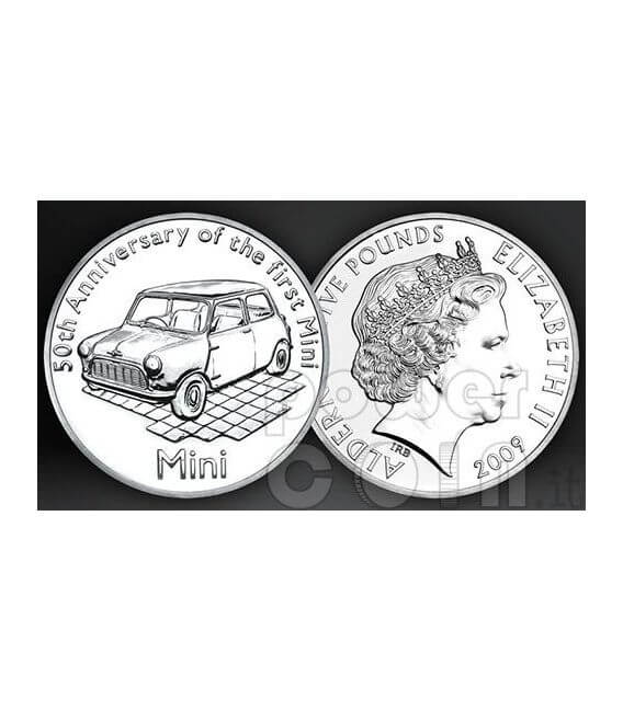 MINI COOPER 50 Anni Moneta £5 BU Alderney UK Royal Mint 2009