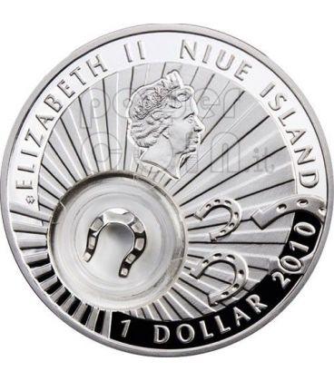 FERRO DI CAVALLO PORTA FORTUNA Portafortuna Moneta Argento 1$ Niue Island 2010