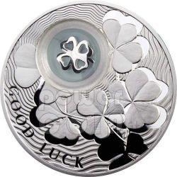 QUADRIFOGLIO PORTA FORTUNA Portafortuna Moneta Argento 1$ Niue Island 2010