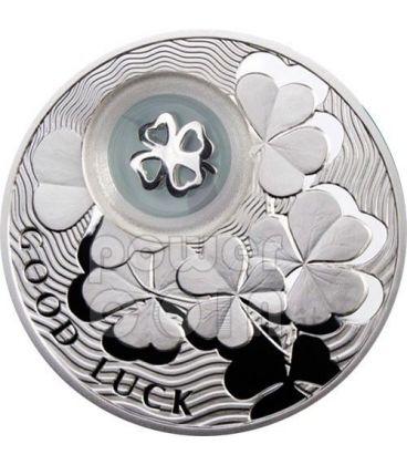 QUADRIFOGLIO PORTA FORTUNA Portafortuna Moneta Argento 1$ Niue 2010