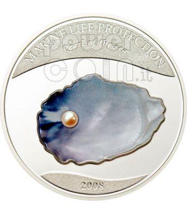 PEARL Jewels Of The Sea Marine Life Silver Coin 5$ Palau 2008