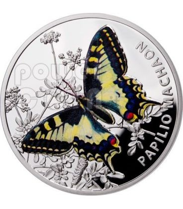 OLD WORLD SWALLOWTAIL Macaone Farfalla Butterfly Moneta Argento 1$ Niue 2011