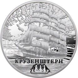 KRUZENSHTERN Sailing Ship Silber Münze Hologram Belarus 2011