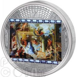 CHARLES LE BRUN Adoration of the Shepherds Lebrun 3 Oz Silver Coin 20$ Cook Islands 2011