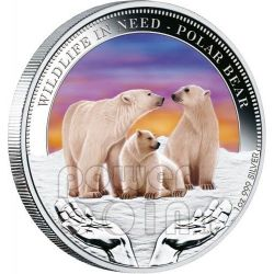 POLAR BEAR Wildlife In Need Silver Coin 1$ Tuvalu 2012