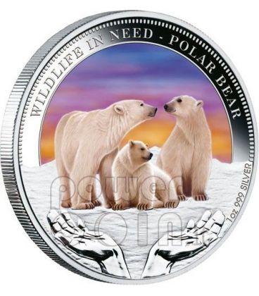 POLAR BEAR Wildlife In Need Silver Coin 1$ Tuvalu 2012