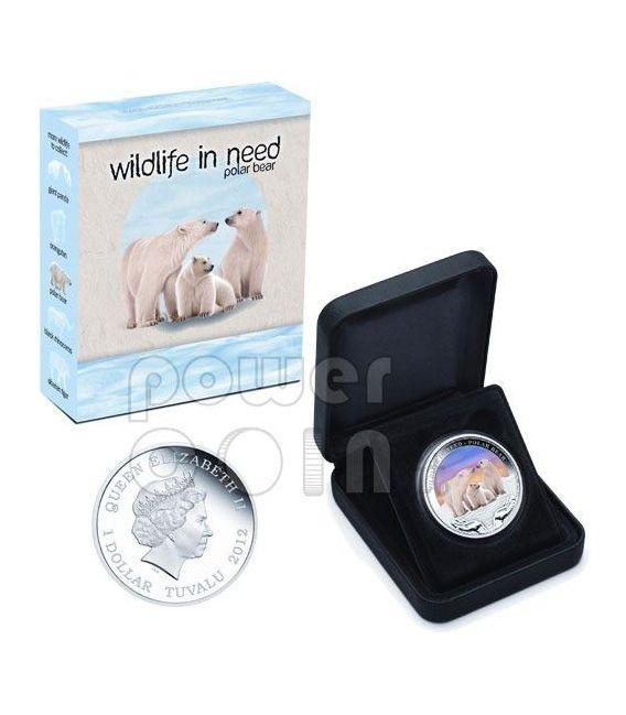 ORSO POLARE Wildlife In Need Moneta Argento 1$ Tuvalu 2012