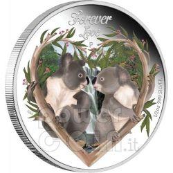 FOREVER LOVE Amore Koala Cuore Moneta Argento 50c Tuvalu 2012