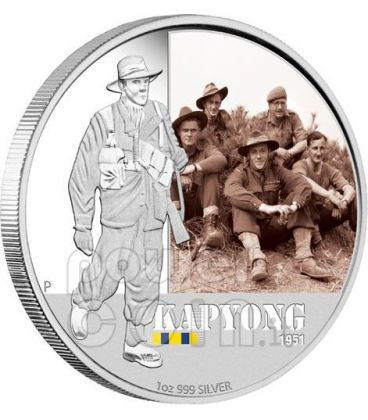 KAPYONG FAMOUS BATTLES 1951 Silver Coin 1$ Australia 2012