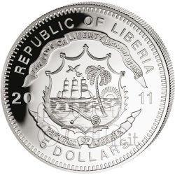 MALLARD England Railroad Railway Steam Train Locomotive Серебро Монета 5$ Либерия 2011