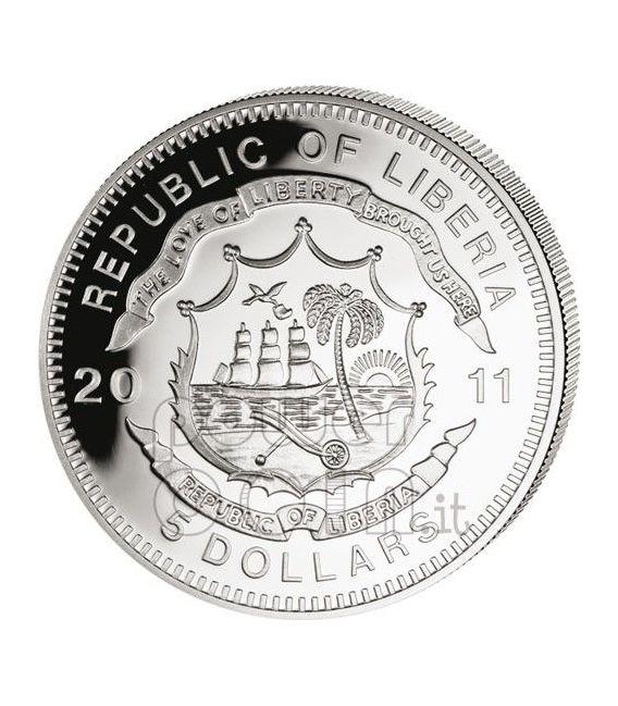 FERROVIA TRANSIBERIANA Russia Treno Locomotiva Vapore Moneta Argento 5$ Liberia 2011