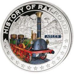 ADLER Germany Railway Railroad Steam Train Locomotive Серебро Монета 5$ Либерия 2011