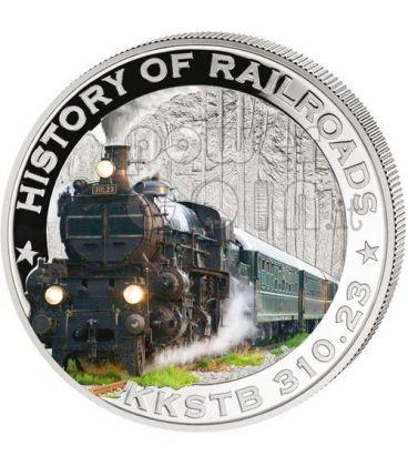FERROVIA IMPERIALE AUSTRIACA KKSTB Treno Locomotiva Vapore Moneta Argento 5$ Liberia 2011