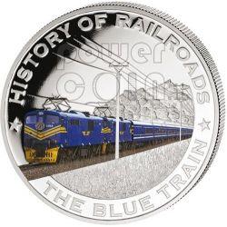 BLUE TRAIN South Africa Railway Railroad Train Locomotive Silber Münze 5$ Liberia 2011