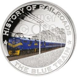 BLUE TRAIN South Africa Railway Railroad Train Locomotive Silver Coin 5$ Liberia 2011