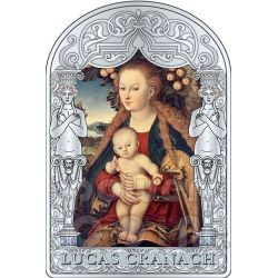 MADONNA VIRGIN CHILD UNDER APPLE TREE Lucas CRANACH Renaissance Silver Coin 15D Andorra 2012
