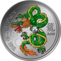 DRAGON Zirconia Zircon Lunar Year Moneda Plata 1000 Francs Cameroon 2012