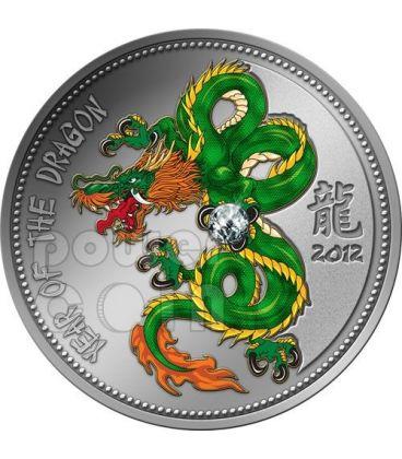 DRAGONE Zirconia Dragon Lunar Year Moneta Argento 1000 Franchi Camerun 2012