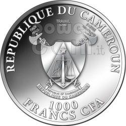 DRAGON Zirconia Zircon Lunar Year Silber Münze 1000 Francs Cameroon 2012