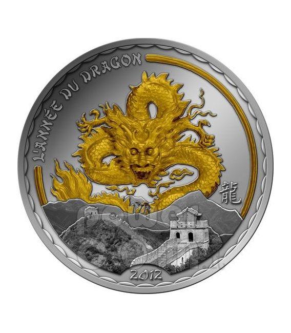 DRAGON GOLDEN Gilded Lunar Year Silver Coin 1000 Francs Cameroon 2012