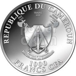 DRAGON GOLDEN Gilded Lunar Year Moneda Plata 1000 Francs Cameroon 2012