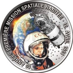 GAGARIN YURI First Space Traveller 50 Anniversary Silver Coin 1000 Francs Benin 2011