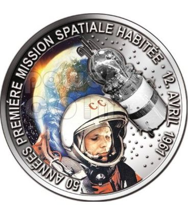 GAGARIN YURI First Space Traveller 50 Anniversary Silver Coin 1000 Francs Benin 2011