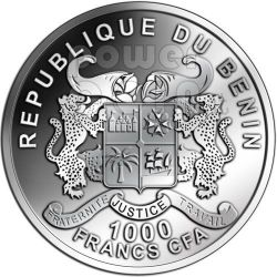 GAGARIN YURI First Space Traveller 50 Anniversary Moneda Plata 1000 Francs Benin 2011