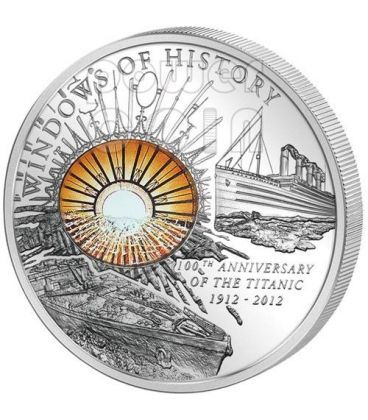 TITANIC Windows Of History 100th Anniversary Silver Coin 10$ Cook Islands 2012
