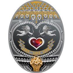 LOVE LOVE LOVE Imperial Eggs Faberge Silver Coin 1$ Niue Island 2011