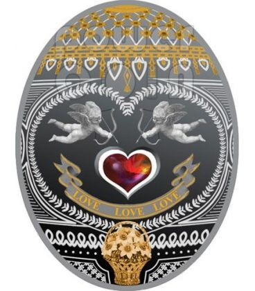 LOVE LOVE LOVE Uova Imperiali Faberge Moneta Argento 1$ Niue 2011