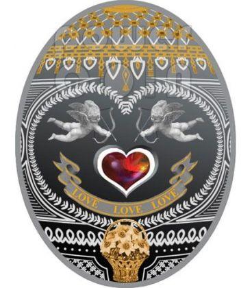 LOVE LOVE LOVE Uova Imperiali Faberge Moneta Argento 1$ Niue Island 2011