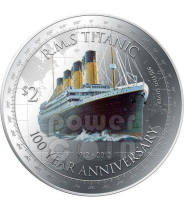 TITANIC 100 Anniversario Transatlantico White Star Line Moneta Argento 2$ Niue 2012