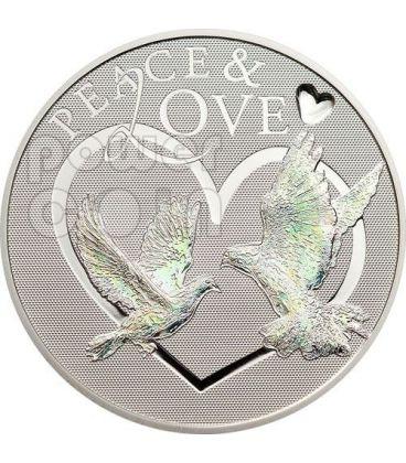 PEACE LOVE Colombe Pace Amore Ologramma Moneta Argento 5$ Tokelau 2012