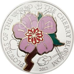 CHERRY BLOSSOM CLOISONNE Flower Silver Coin 5$ Cook Islands 2012