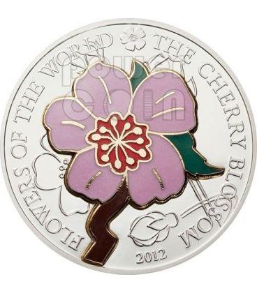 CHERRY BLOSSOM CLOISONNE Fiori di Ciliegio Moneta Argento 5$ Cook Islands 2012