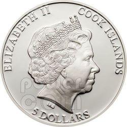 CHERRY BLOSSOM CLOISONNE Flower Moneda Plata 5$ Cook Islands 2012