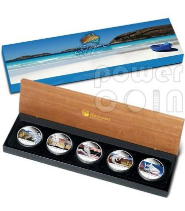DISCOVER AUSTRALIA Set Cinque 5 Monete Argento 1$ Australia 2012