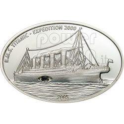 TITANIC Carbone Transatlantico White Star Line Moneta Argento 10$ Liberia 2005