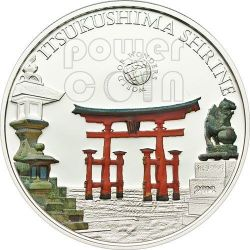 ITSUKUSHIMA SHRINE Santuario Giappone World Of Wonders Moneta Argento 5$ Palau 2012