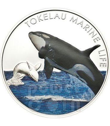 ORCA Killer Whale Marine Life Silver Coin 5$ Tokelau 2012