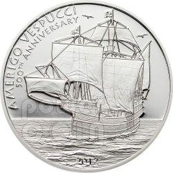 AMERIGO VESPUCCI Explorer Sailing Ship 500th Anniversary Silver Coin 5$ Cook Islands 2012