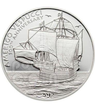 AMERIGO VESPUCCI Esploratore Veliero 500 Anniversario Moneta Argento 5$ Cook Islands 2012