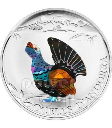 WESTERN CAPERCAILLIE Bird Silver Coin Prism 5D Andorra 2012