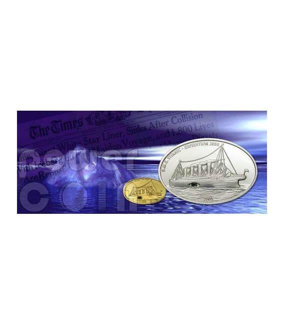 TITANIC Original Coal Transatlantic White Star Line Серебро Монета 10$ Либерия 2005