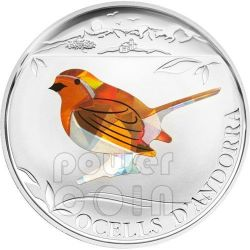 PETTIROSSO Robin Bird Uccello Moneta Argento Prisma 5D Andorra 2012